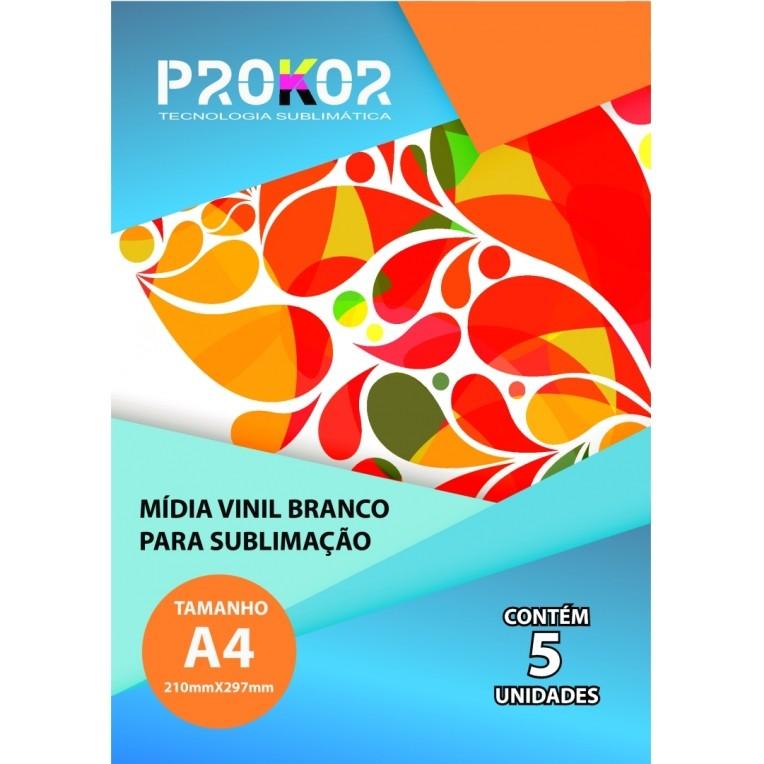 Vinil Branco Para Sublimação A4 - Pacote com 5 Folhas