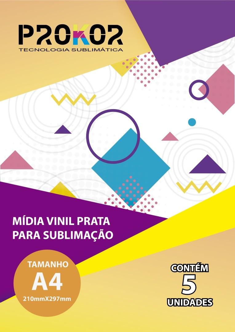 Vinil Prata Para Sublimação A4 - Pacote com 5 Folhas