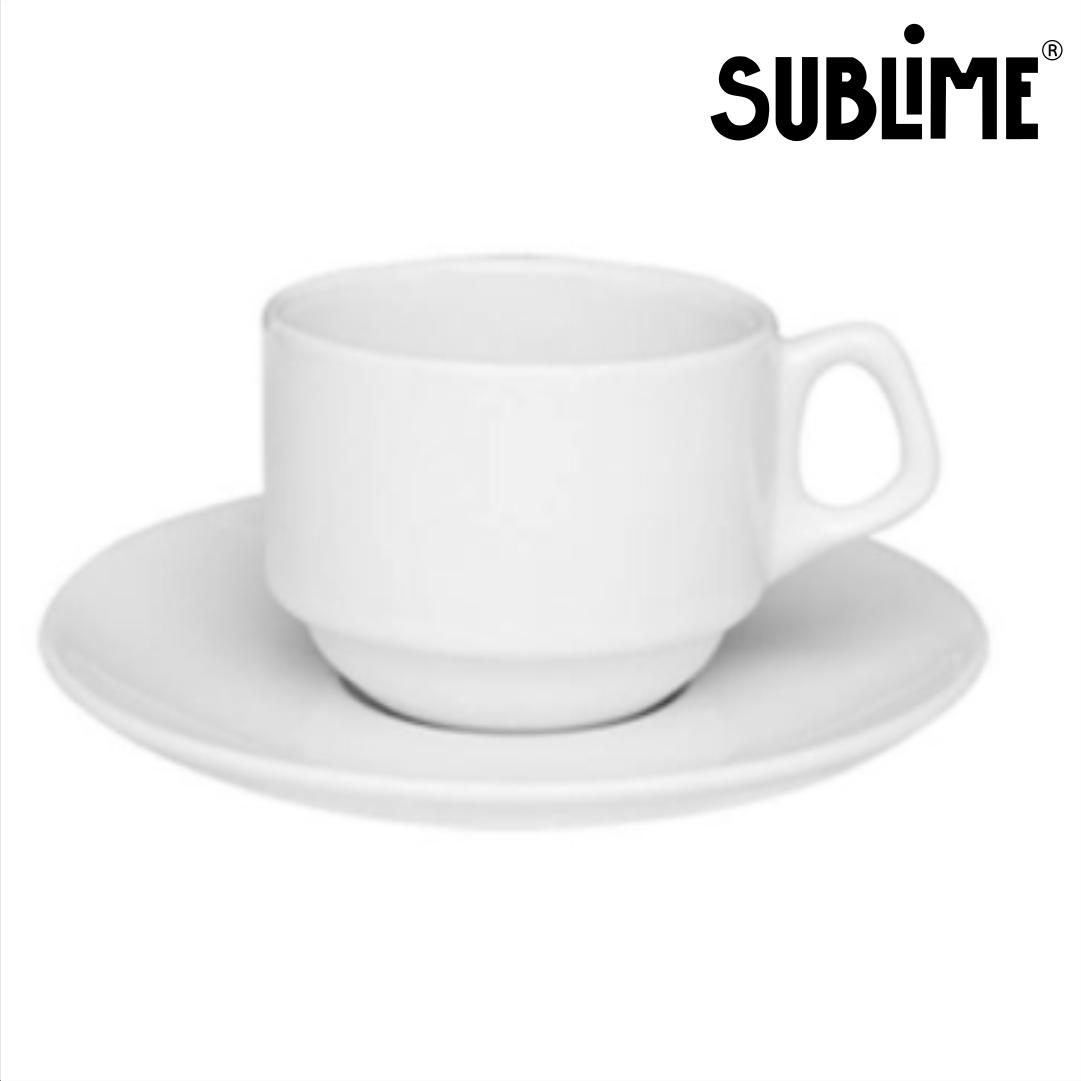 Xícara Branca para Sublimação com Pires - 180ml - SUBLIME