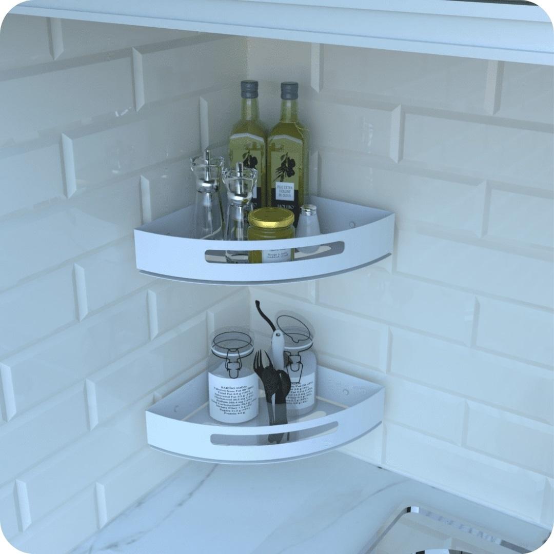Kit 2 Porta Temperos e Condimentos de Parede Branco Multiuso