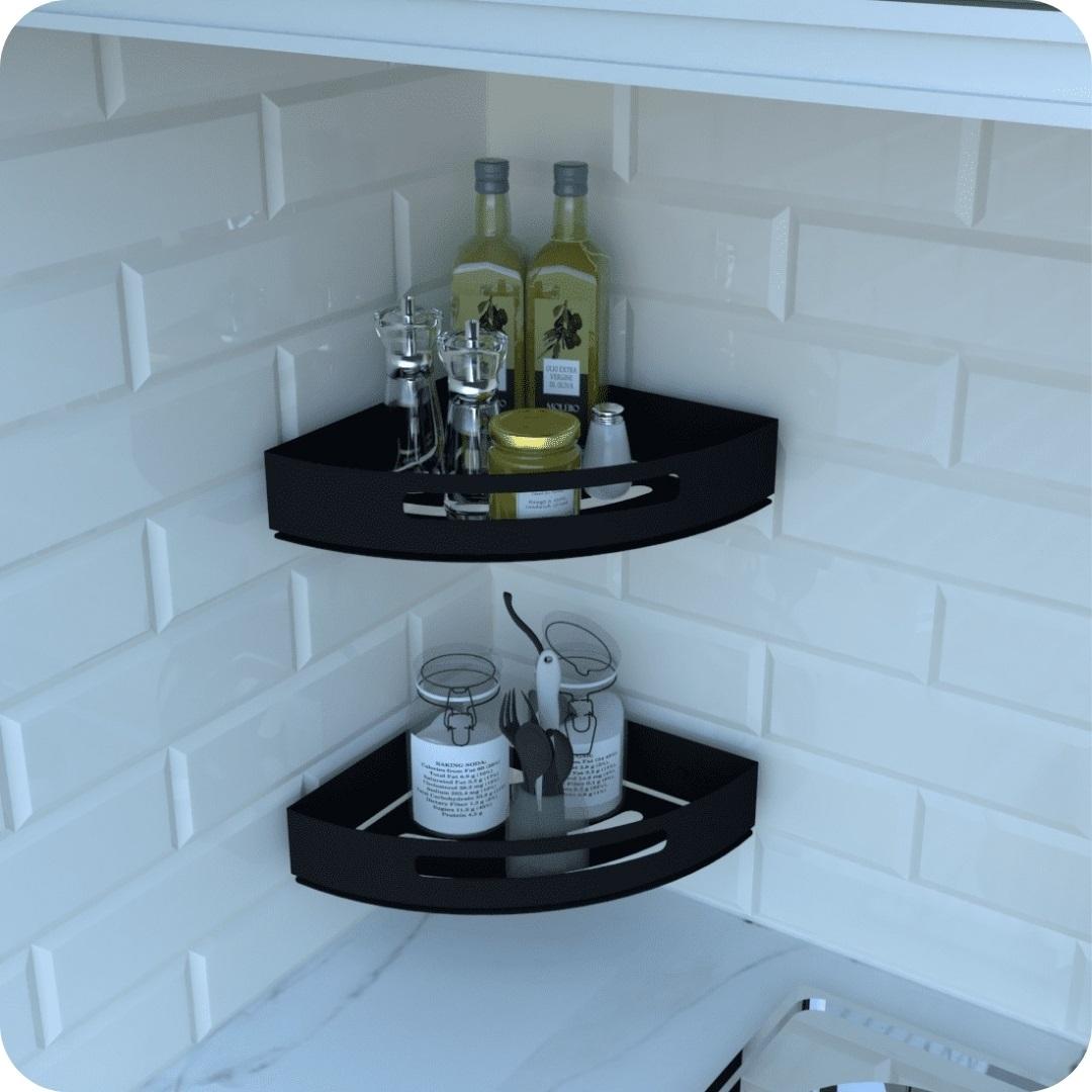 Kit 2 Porta Temperos e Condimentos de Parede Preto Multiuso