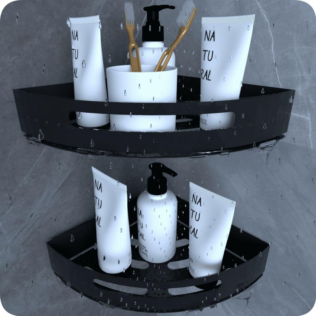 Kit 2 Suportes Porta Shampoo P/ Banheiro De Canto Inox Preto