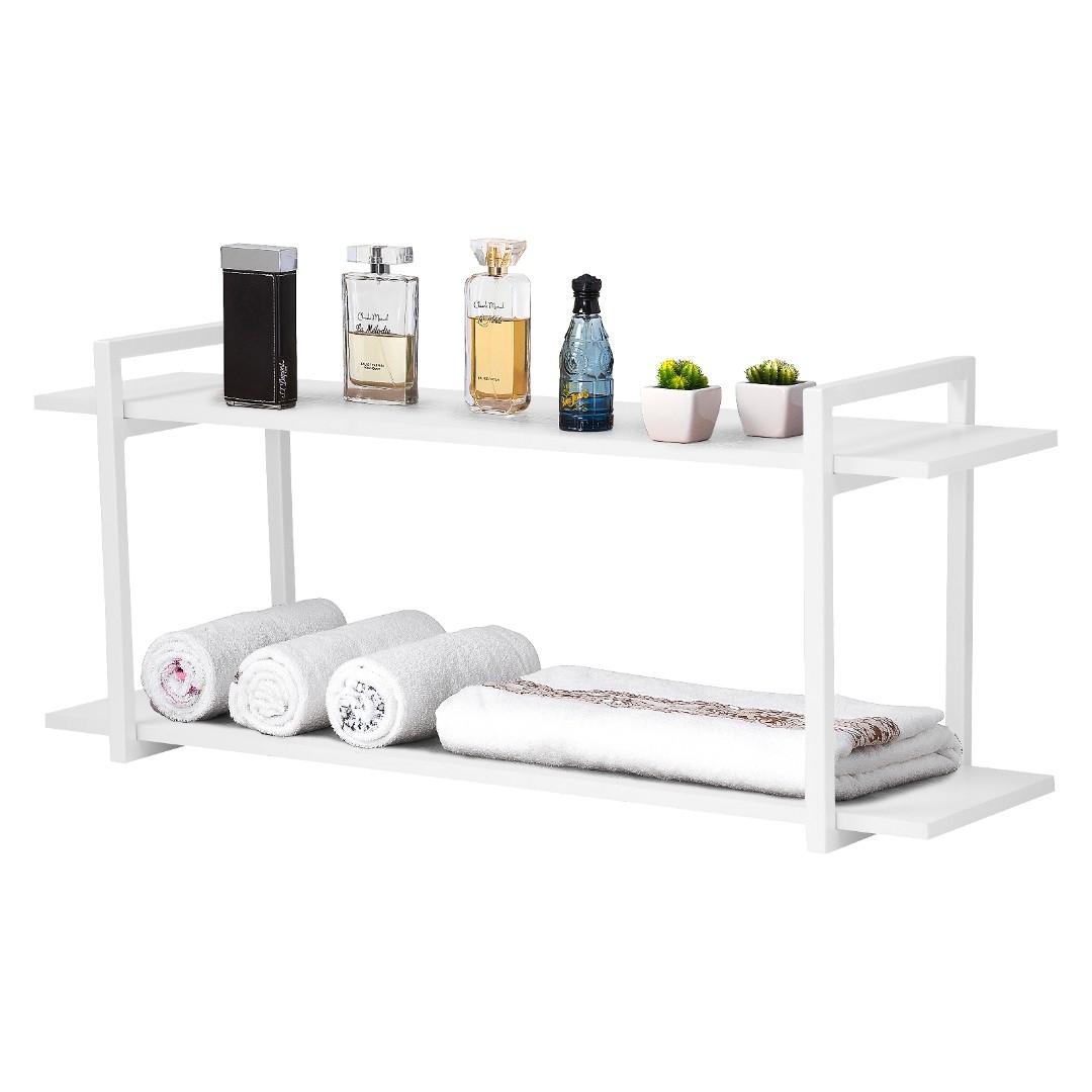 Nicho Banheiro Branco Com Prateleiras Branco 120cm