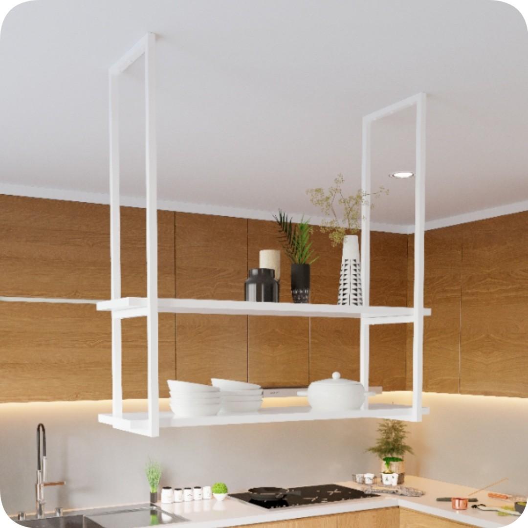 Nicho Branco Prateleira Suspensa Teto Cozinha Branca 100cm