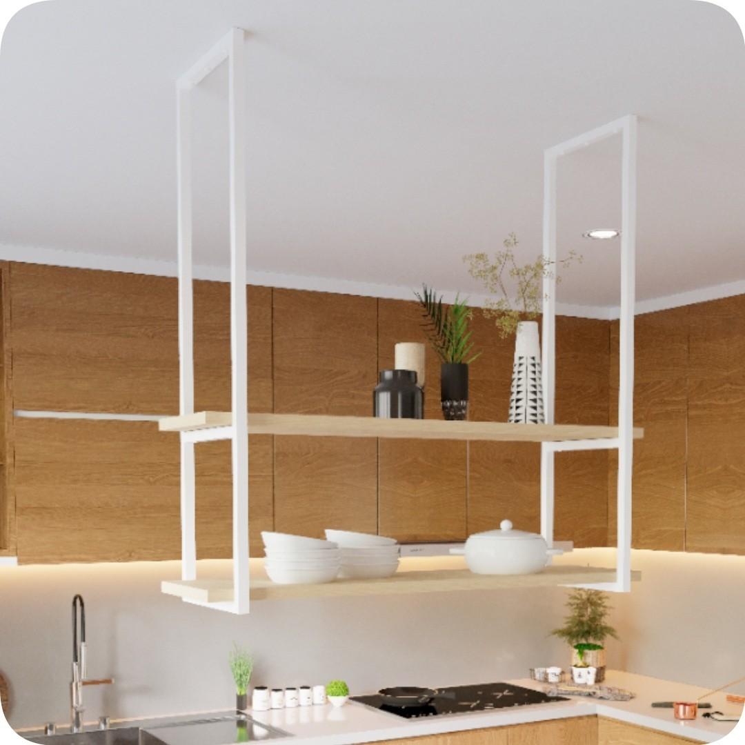 Nicho Branco Prateleira Suspensa Teto Cozinha Madeira 100cm