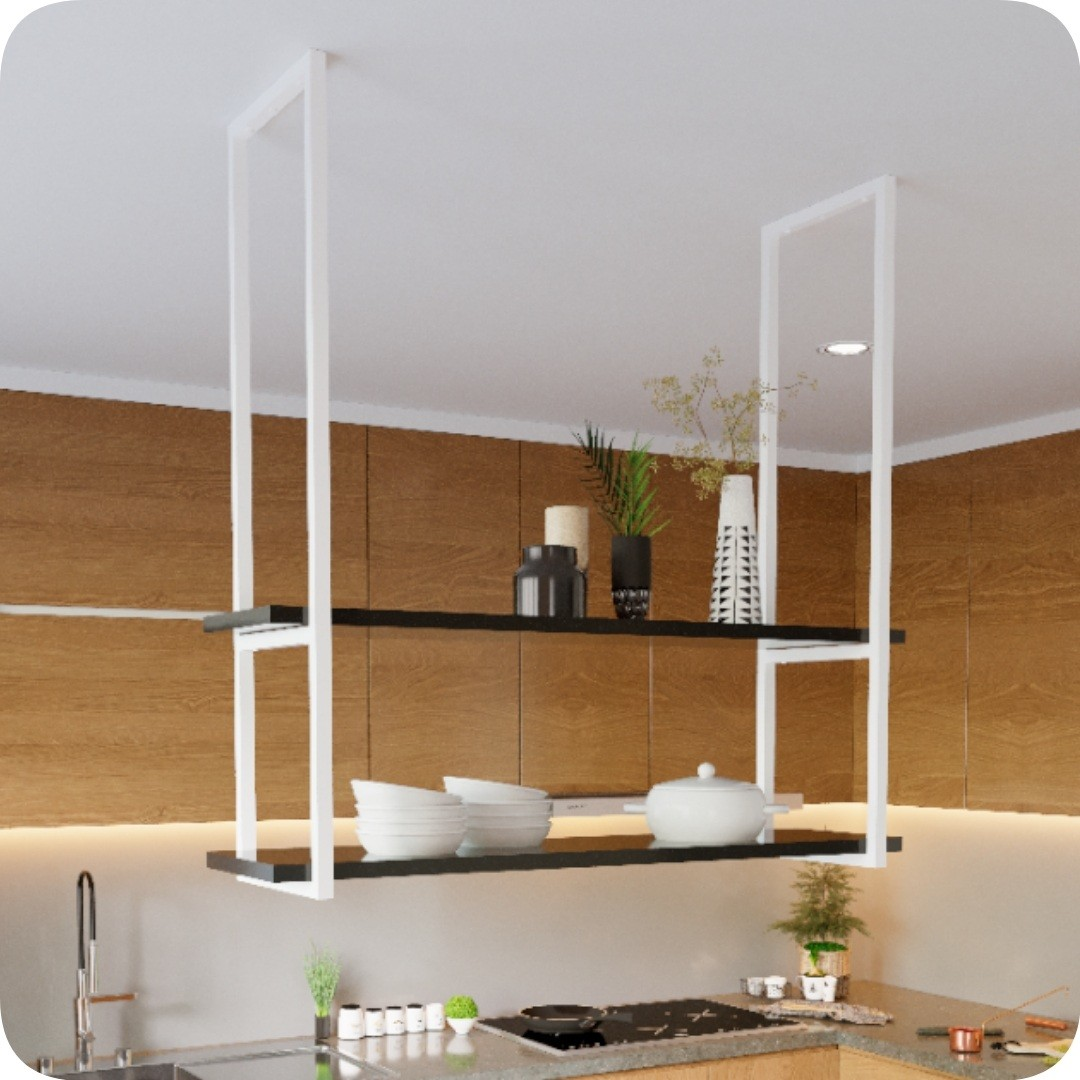 Nicho Branco Prateleira Suspensa Teto Cozinha Preta 1.20mt