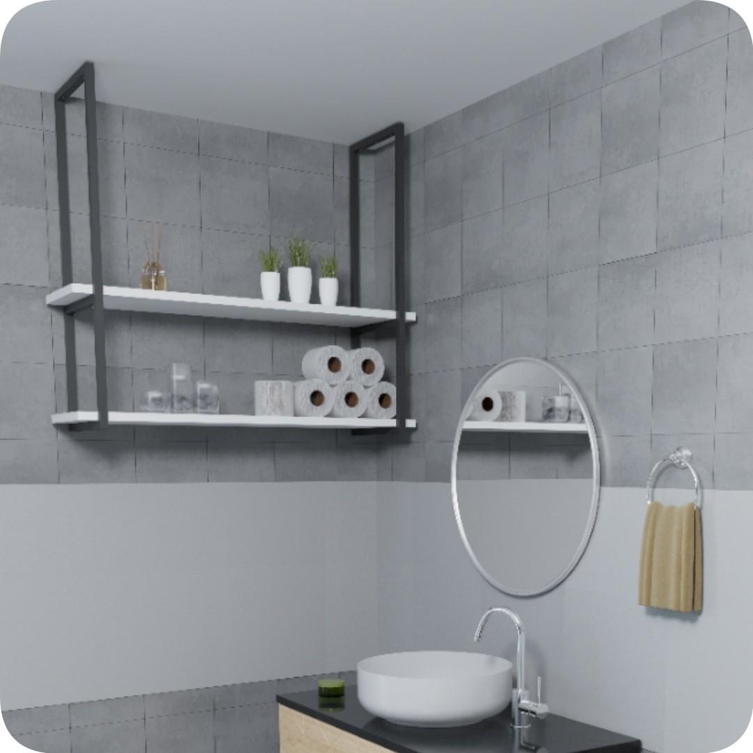 Nicho Preto Prateleira Suspensa Teto Banheiro Branca 1.20mt