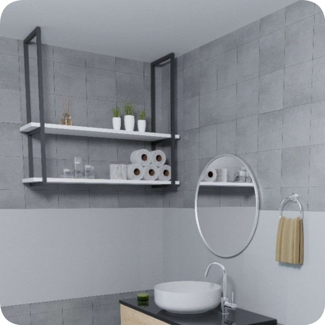 Nicho Preto Prateleira Suspensa Teto Banheiro Branca 60cm