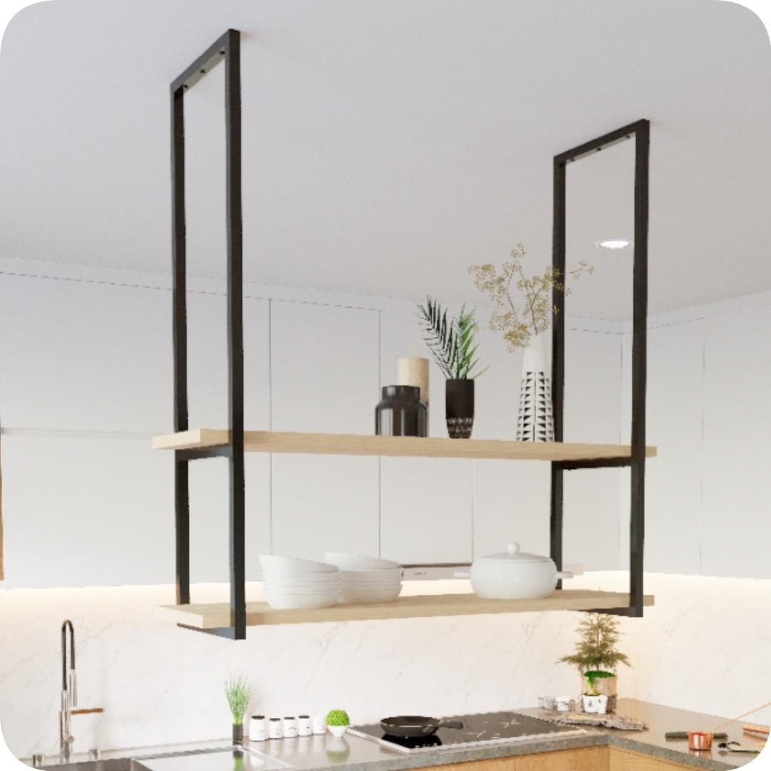 Nicho Preto Prateleira Suspensa Teto Cozinha Madeirado 60cm