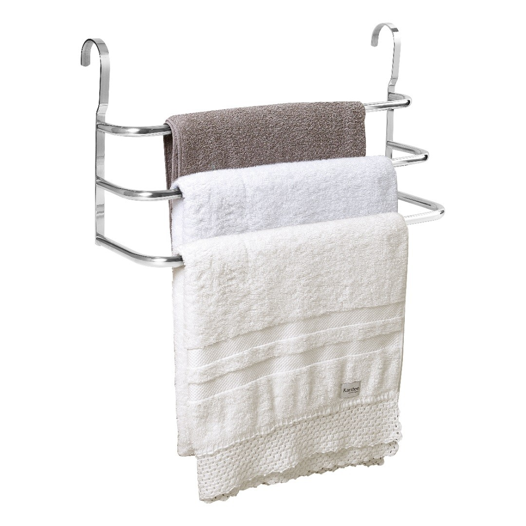 Porta Toalhas Triplo Toalheiro Para Box Alto Brilho 60cm