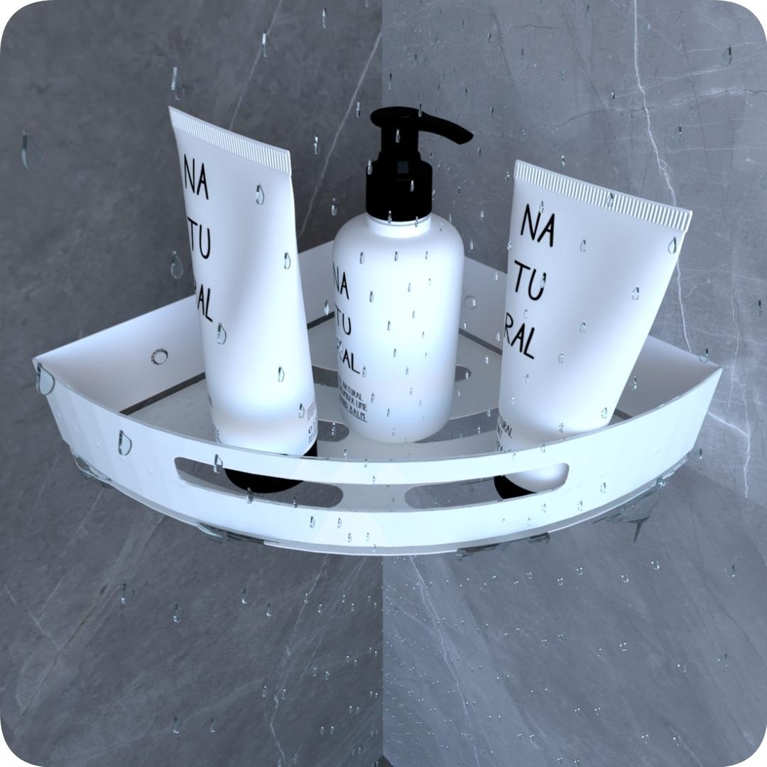 Suporte Porta Shampoo Para Banheiro De Canto Inox Branco