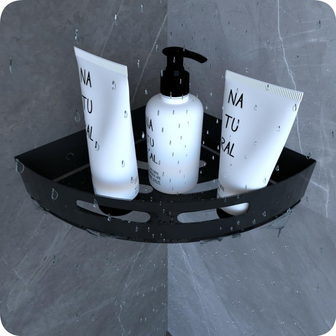 Suporte Porta Shampoo Para Banheiro De Canto Inox Preto