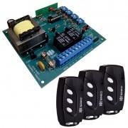 Placa Central P4000 Comando Motor Portão PPA e 3 Controles
