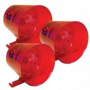 Sirene Audiovisual Vermelha 12/24 Vdc Ipec (3 Unidades)