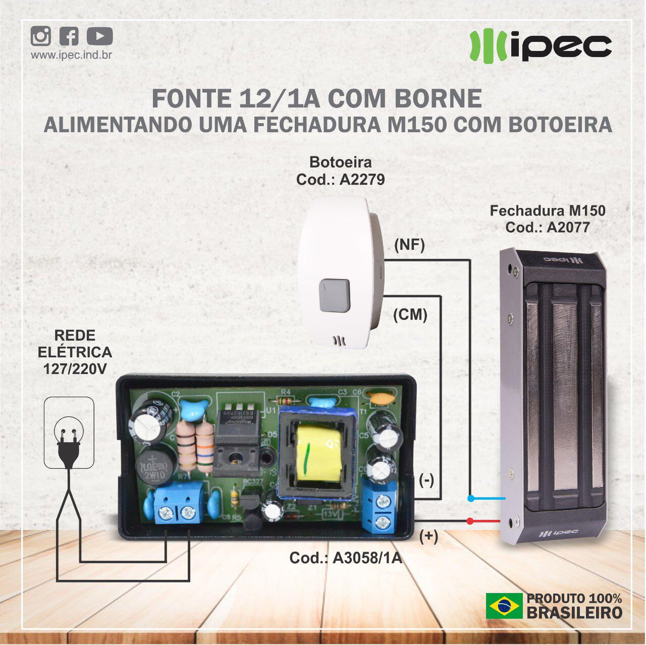 Fechadura Magnética Para Porta De Vidro Deslizante M150 Ipec