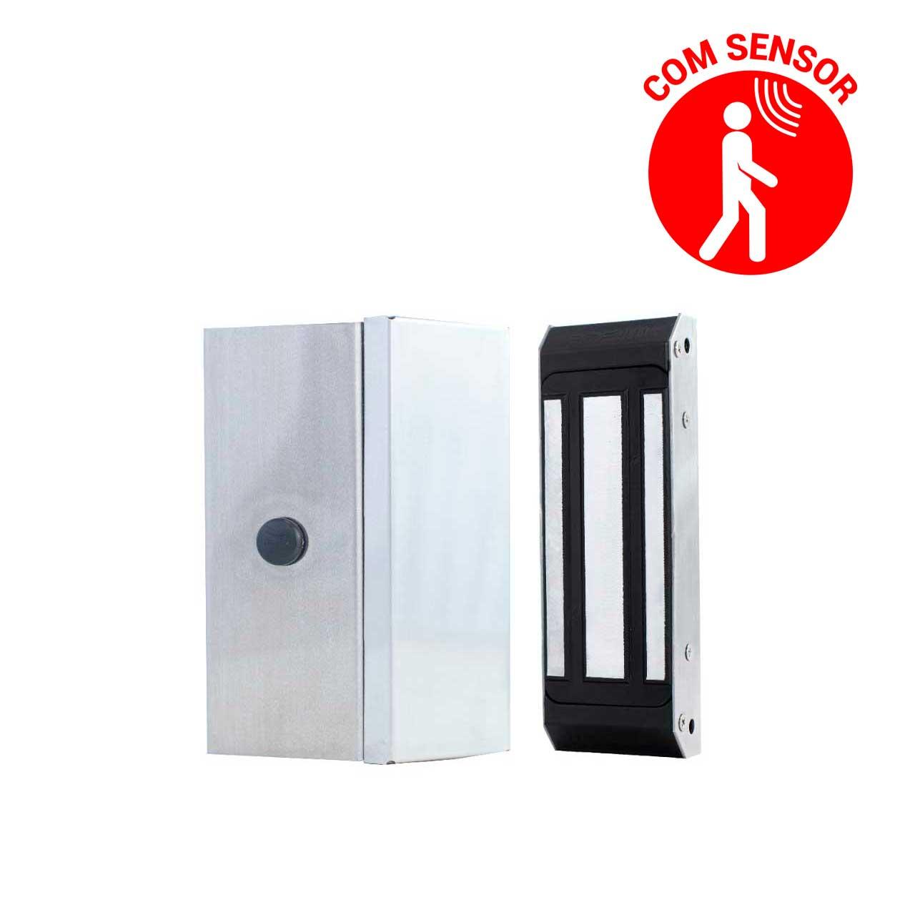 Fechadura Magnética Eletroimã M100 100kg em Inox com Sensor Porta Pivotante e Deslizante Ipec
