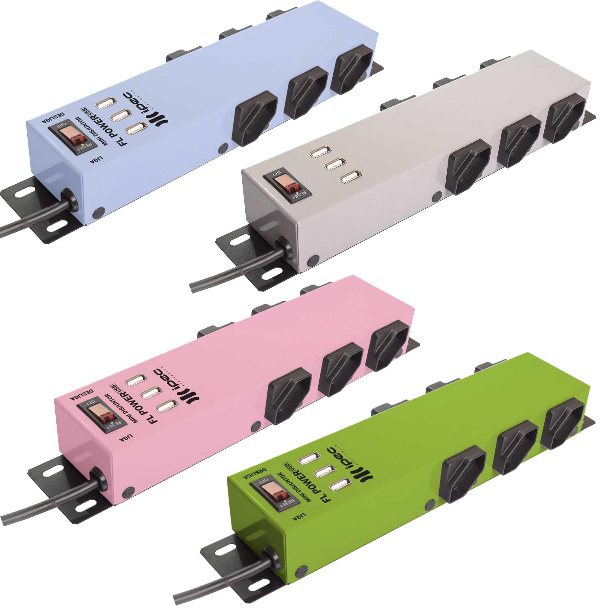 Filtro de Linha 6 Tomadas FL Power Com Entrada USB Ipec