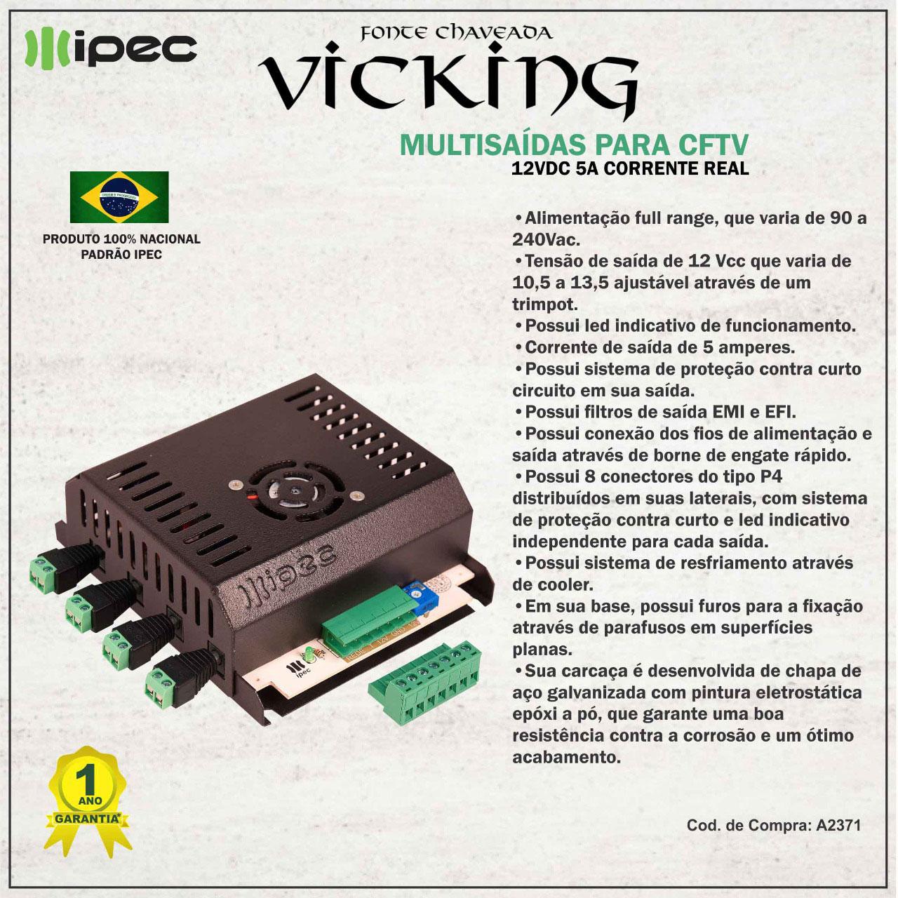 Fonte Chaveada Vicking Multisaídas 5A Ipec