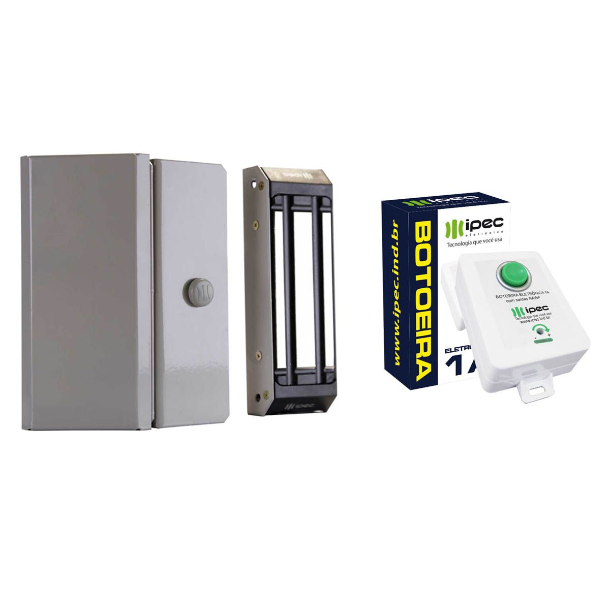 Kit Fechadura Magnética M150 Porta Comum com Botoeira Eletrônica