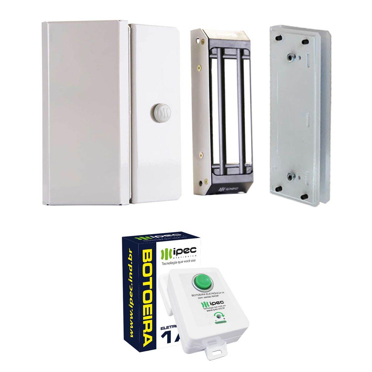 Kit Fechadura Magnética M150 Porta Vidro com Botoeira Eletrônica