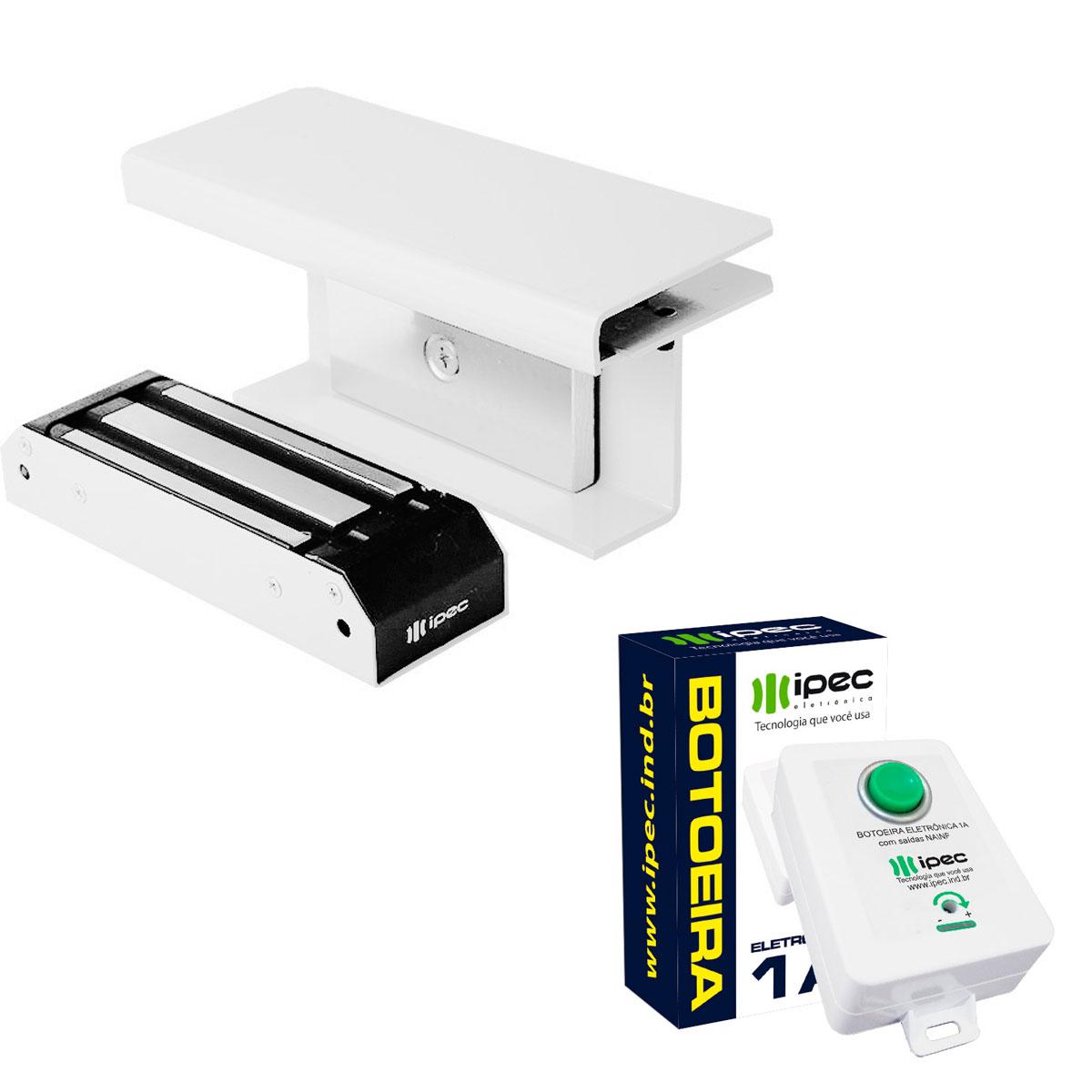 Kit Fechadura Magnética Deslizante e Botoeira Eletrônica Com Fio 1A Automação