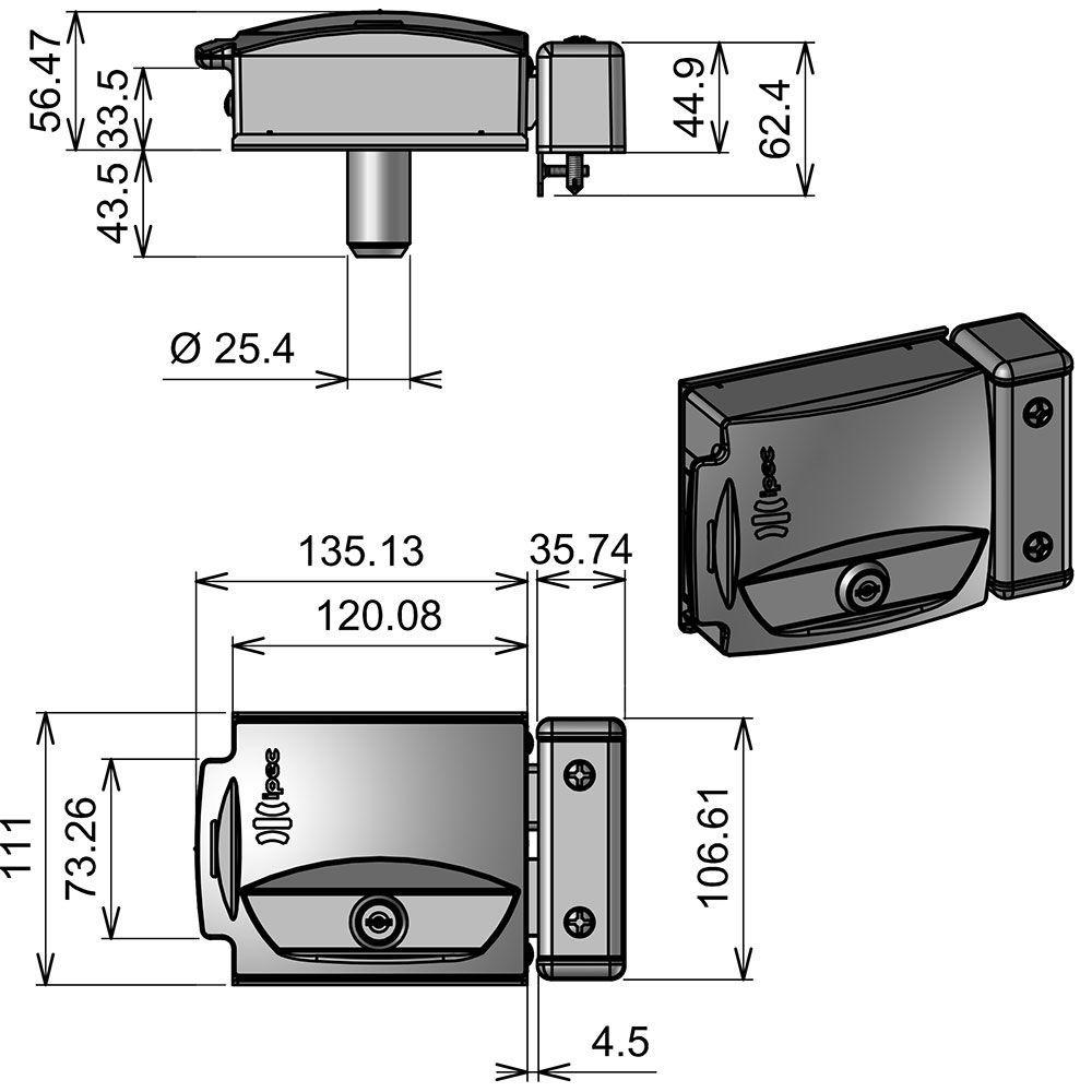 Kit Fechadura Elétrica Abertura por Controle Remoto 433 MHZ Rossi e Peccinin