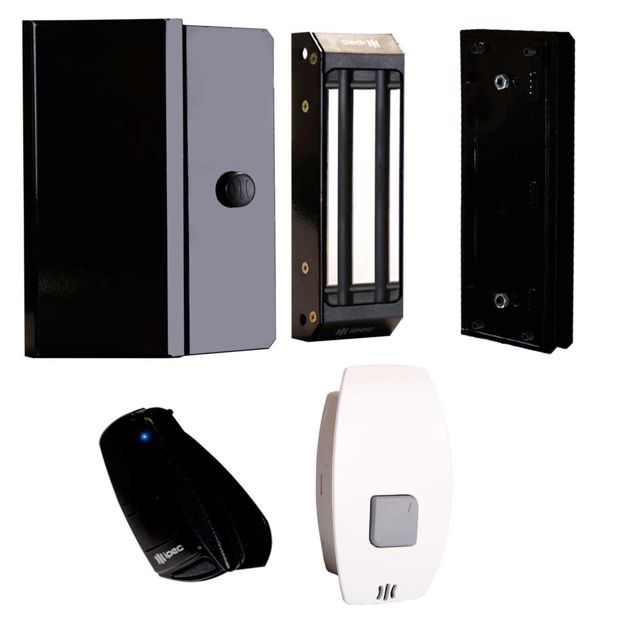 Kit Fechadura Trava Magnética M150 com Suporte U, Botoeira Eletrônica 1A e Controle Remoto Tx Top