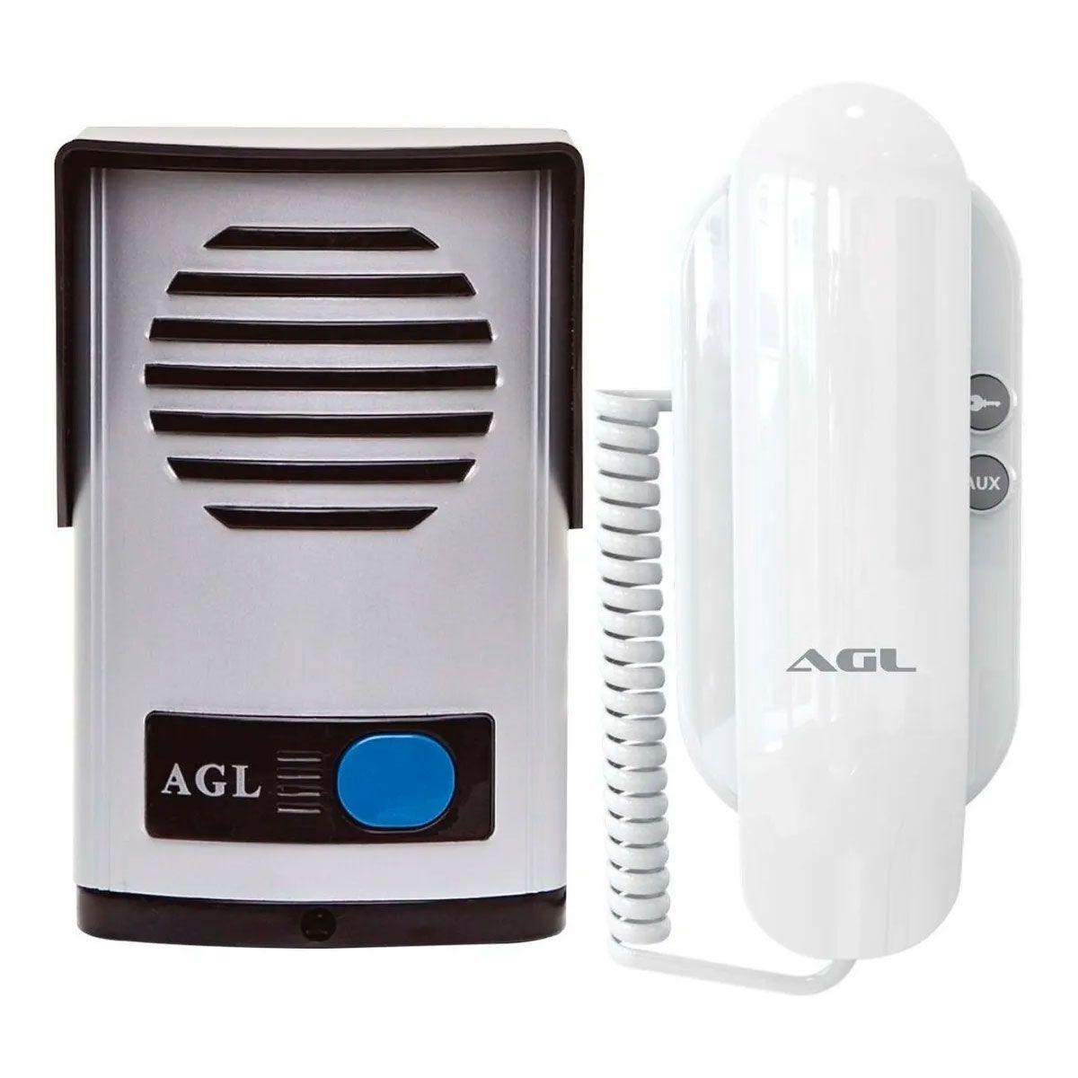 Kit Interfone Porteiro Eletrônico AGL P10-S Alimentação Externa