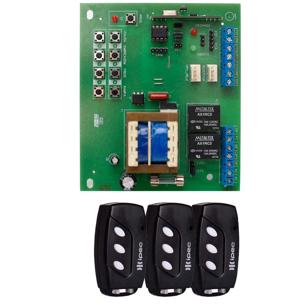 Kit Placa X4 Central Rossi DZ3 DZ4 Nano Sensor Hall com 3 Controles