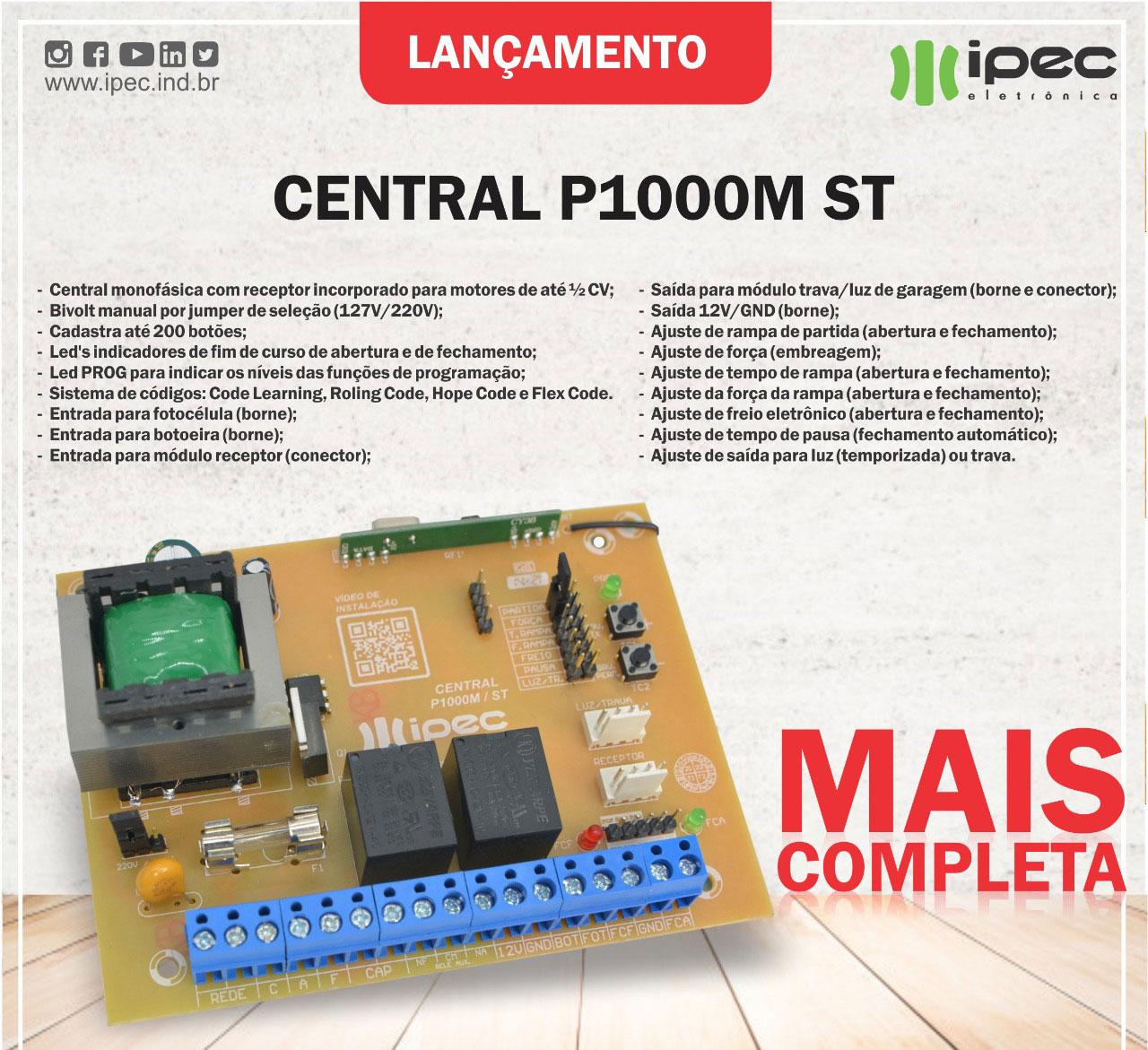 Placa Central Comando P1000M ST Motor Portão Rossi