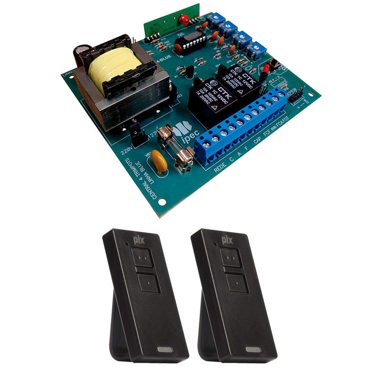 Placa Central Comando P4000 Motor Portão Ppa e 2 Controles Pix