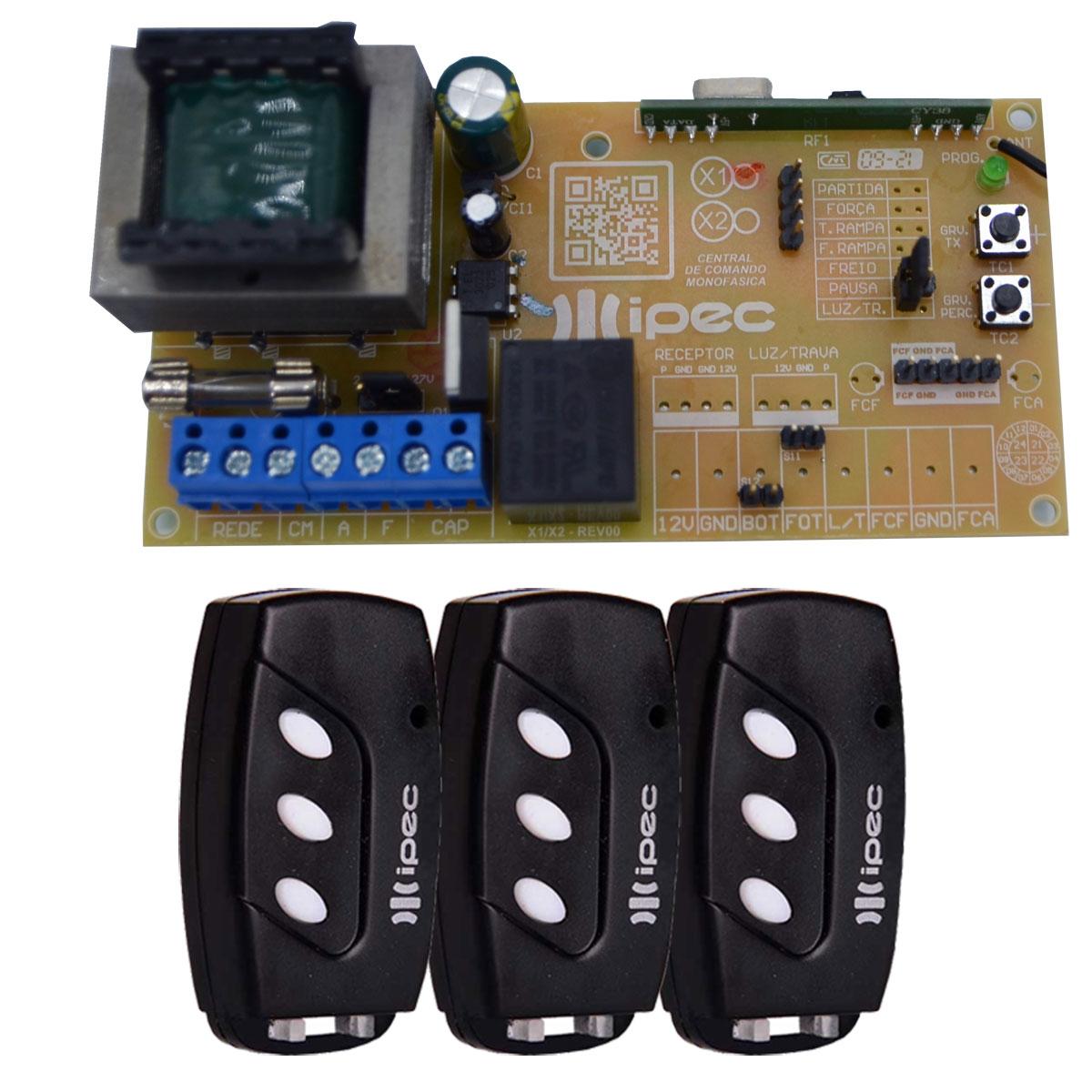 Placa Central X1 Universal Básica Comando Motor 3 Controles Portão