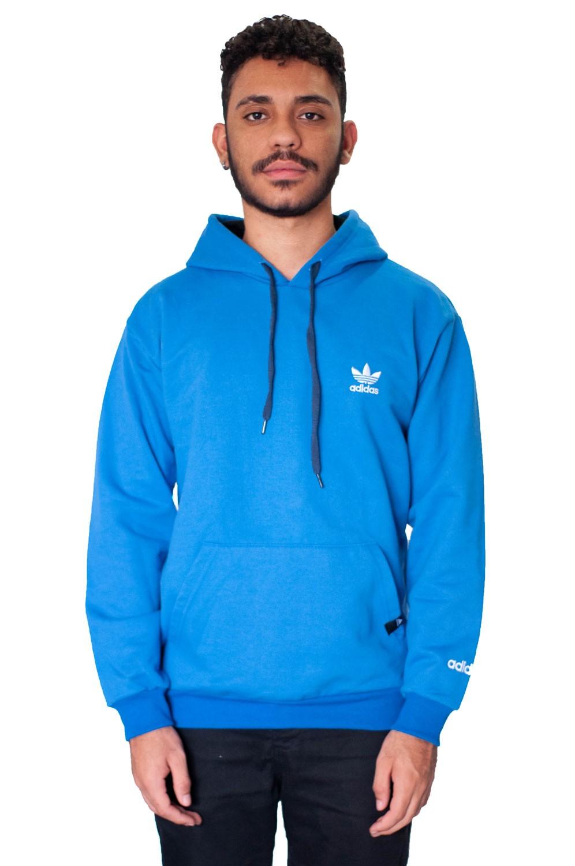 Blusa Moletom Adidas Azul Básica
