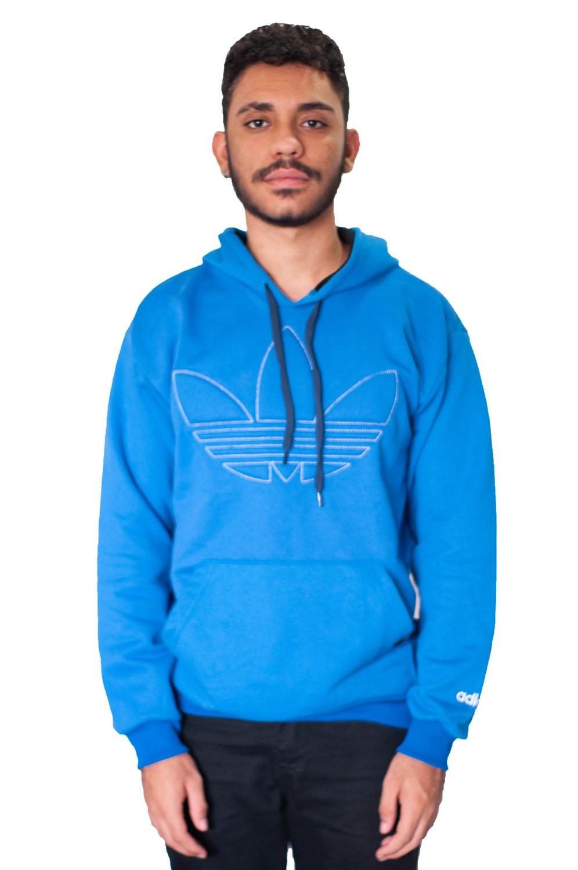 Blusa Moletom Adidas Azul Bordado