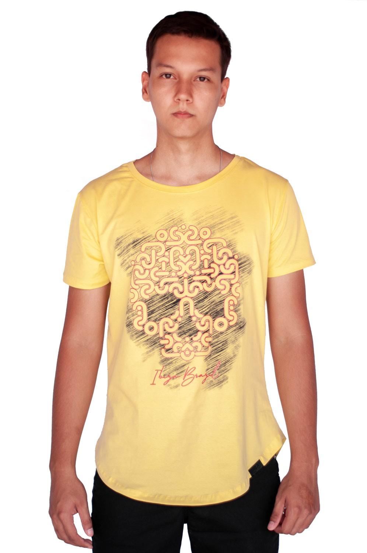 Camiseta Long Line Caveira Amarela