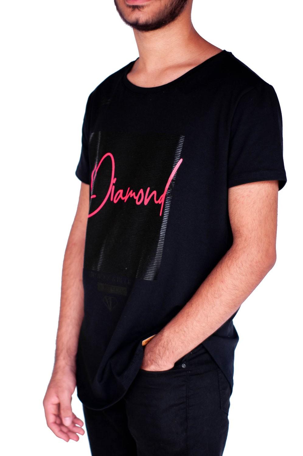 Camiseta Long Line Diamond Preta
