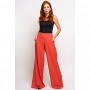 Calça Pantalona em Linho Vermelho Queimado
