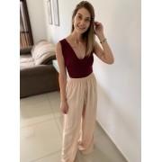 Calça Pantalona Em Viscolinho Com Fenda Lateral