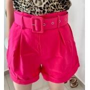 Shorts Alfaiataria Com Cinto Pink