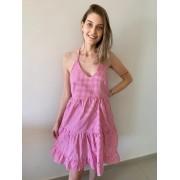 Vestido Curto Estampa Vichy Pink