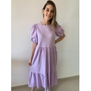 Vestido Midi com Manga Bufante, Inspiração Zara