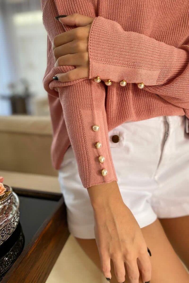 Blusa Tricot Rosê