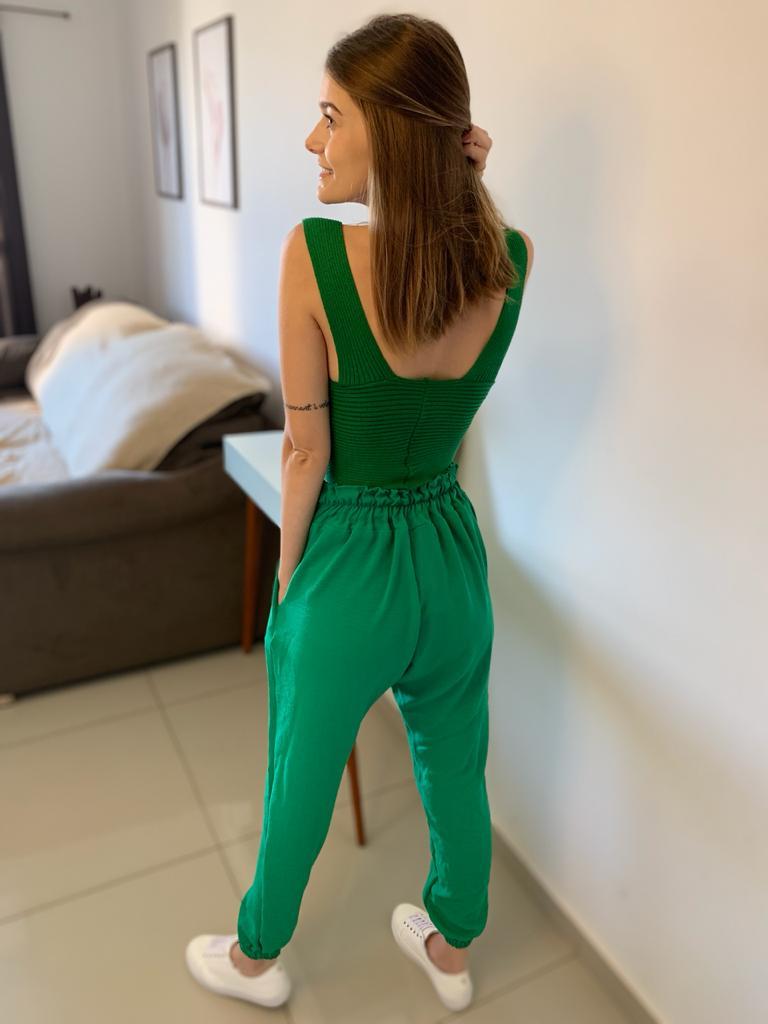 Calça Jogger em Crepe Slim Verde