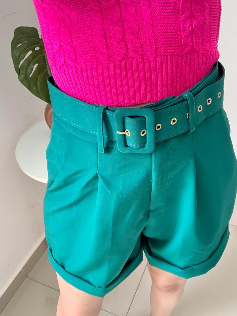Shorts Alfaiataria  Com Cinto Verde