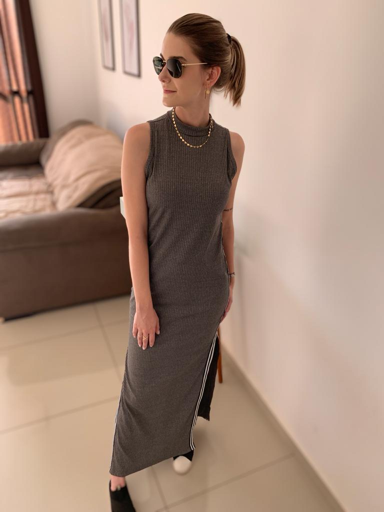 Vestido Longo Canelado
