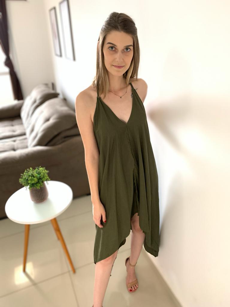 Vestido Midi Assimétrico Verde Militar
