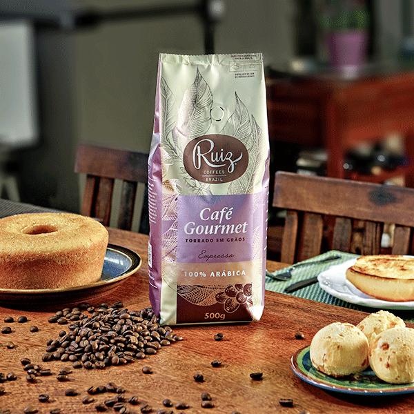 Café Ruiz Gourmet - Expresso 100% Arábica - Torrado em Grãos - 500gr