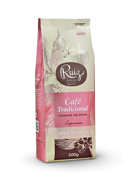 Café Ruiz Tradicional - Expresso 100% Arábica -  Torrado em Grãos - 500g