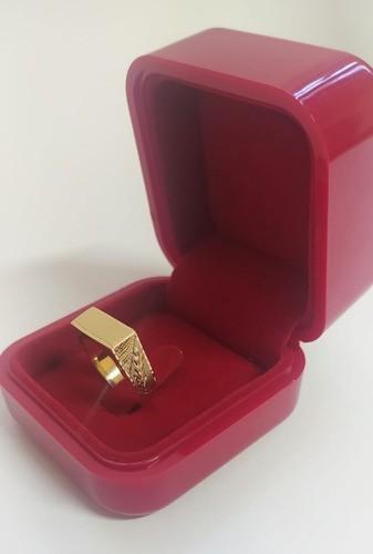 Anel Chapa Masculino 6mm Forrado Em Ouro 18k 750