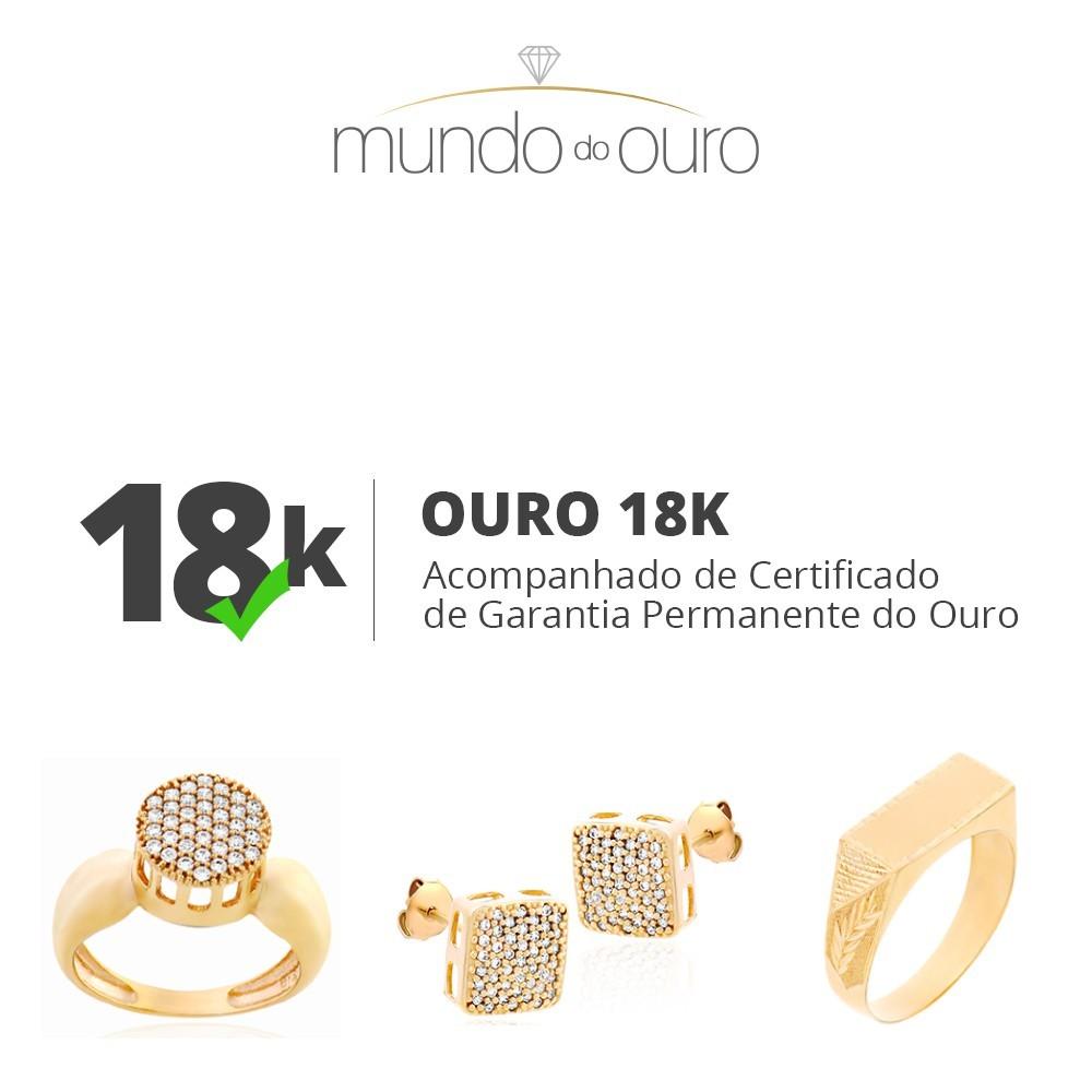 Anel Chuveiro Quadrado Zircônias Ouro 18k 750